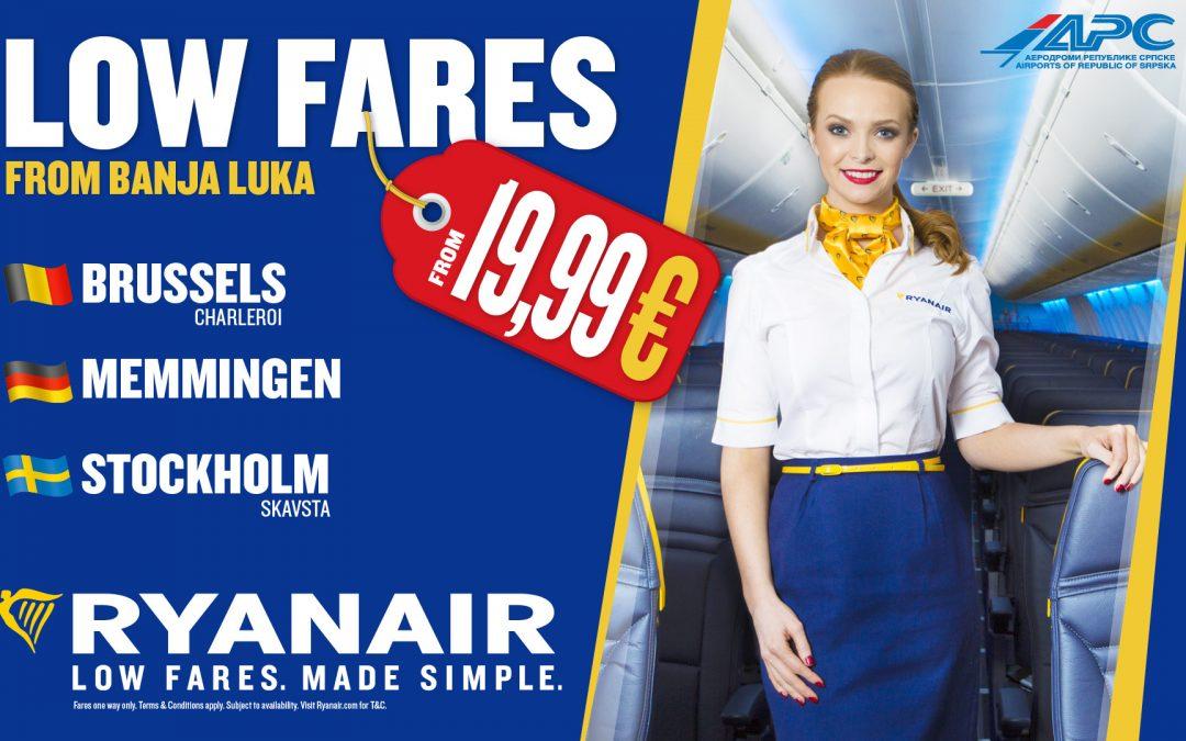 Nove niskobudžetne avio linije kompanije Ryanair sa Aerodroma iz Banja Luke